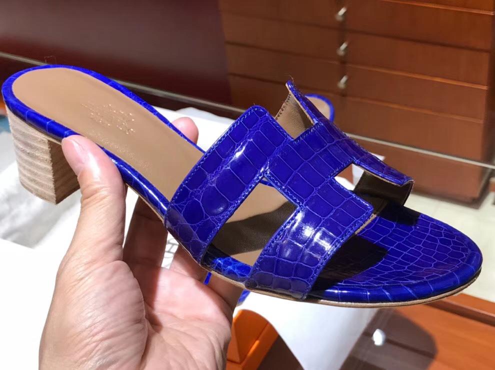 Luxury Hermes ShinyCrocodile Middle Heel Women's Sandals in Blue Electric 35-41