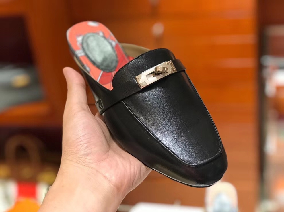 2018 Autumn New Hermes Mini Kelly Buckle Kell Style Black Flat Shoes 35-41