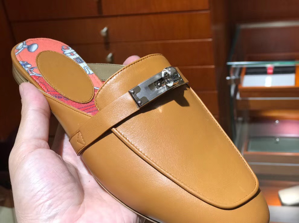 Noble Hermes Gold Chevre Leather Kell Style Flat Women's Sandals Shoes35-41