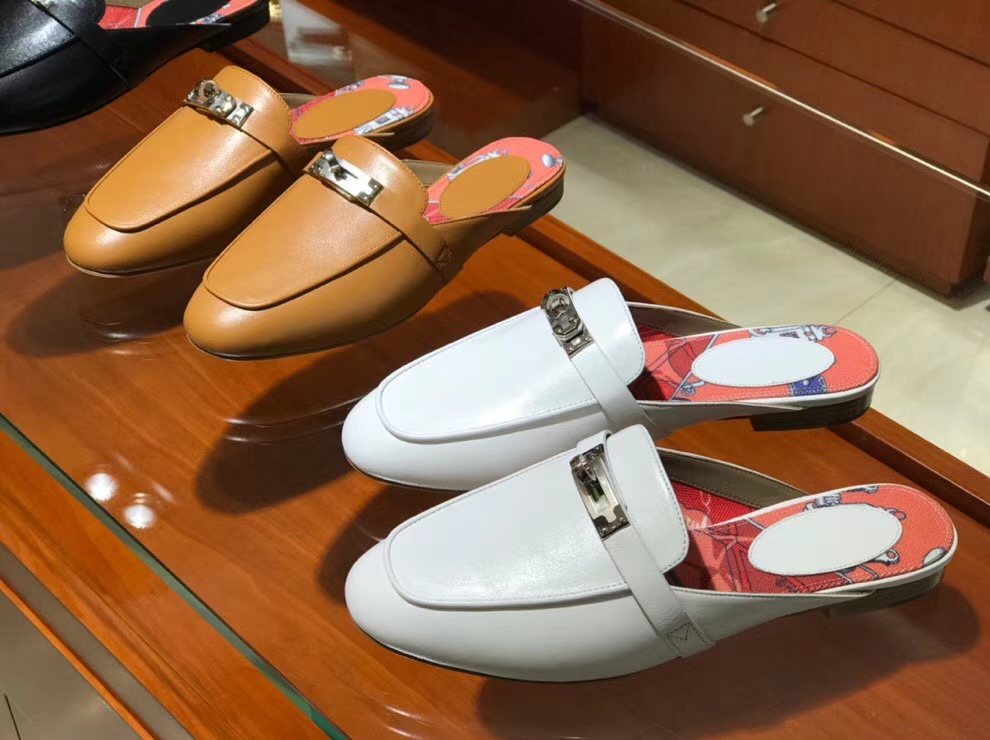 Wholesale Hermes 2018 Autumn Kell Style Women's Flat Sandals Shoes in White