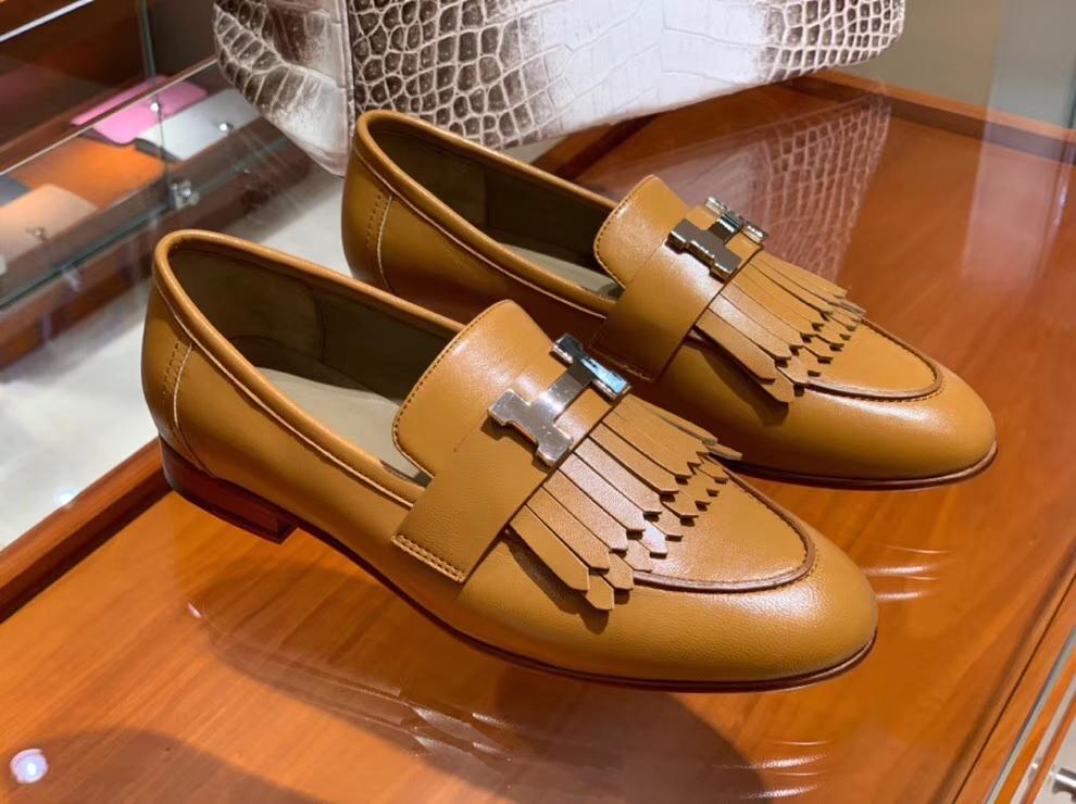 Elegant Hermes Gold Chevre Leather New Fringe Women's Flat Shoes35-41