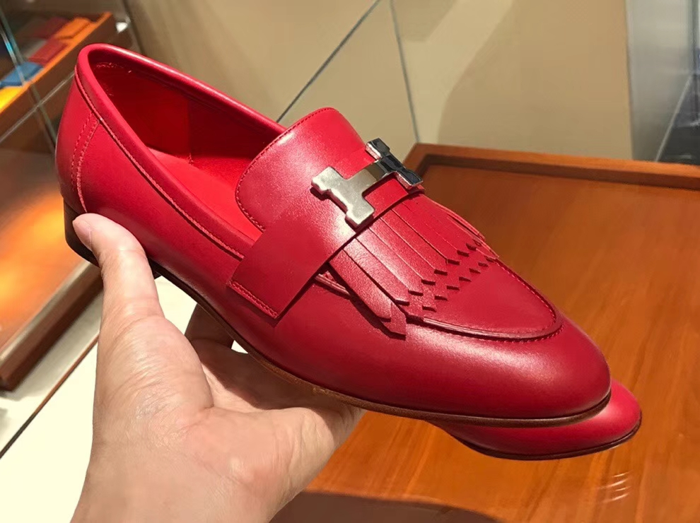 Pretty Hermes Autumn New Chevre Leather Fringe Shoes in Rouge Casaque35-41