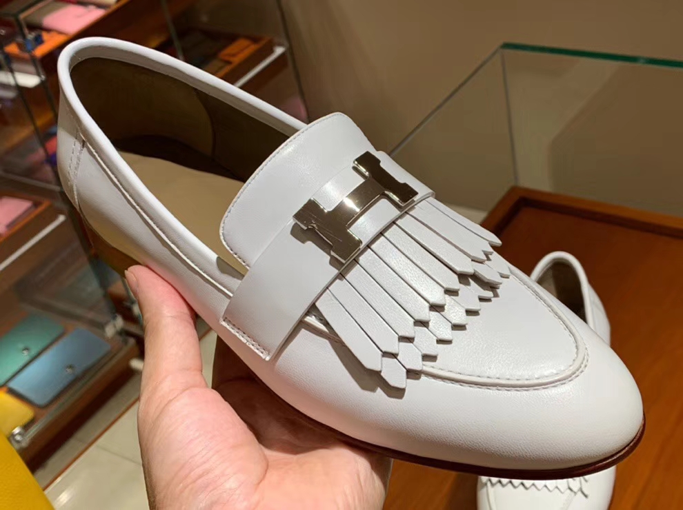 Wholesale Hermes White Chevre Leather H Hardware Fringe Flat Shoes35-41