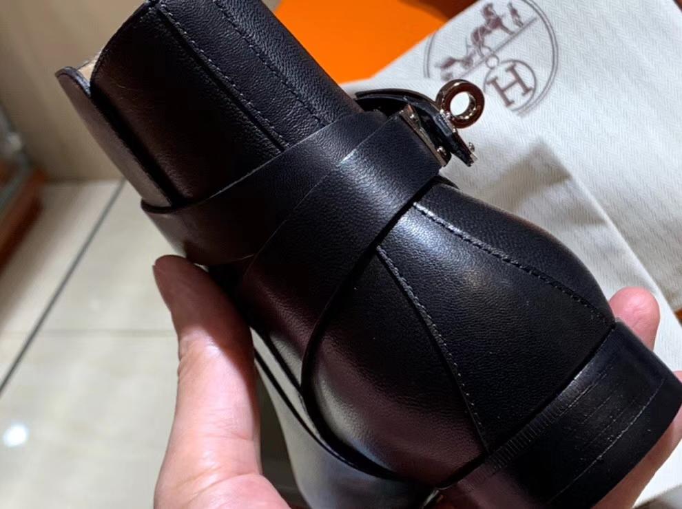 Wholesale Hermes Black Chevre Leather Autumn New Women's Neo Short Boots Shoes 35-41