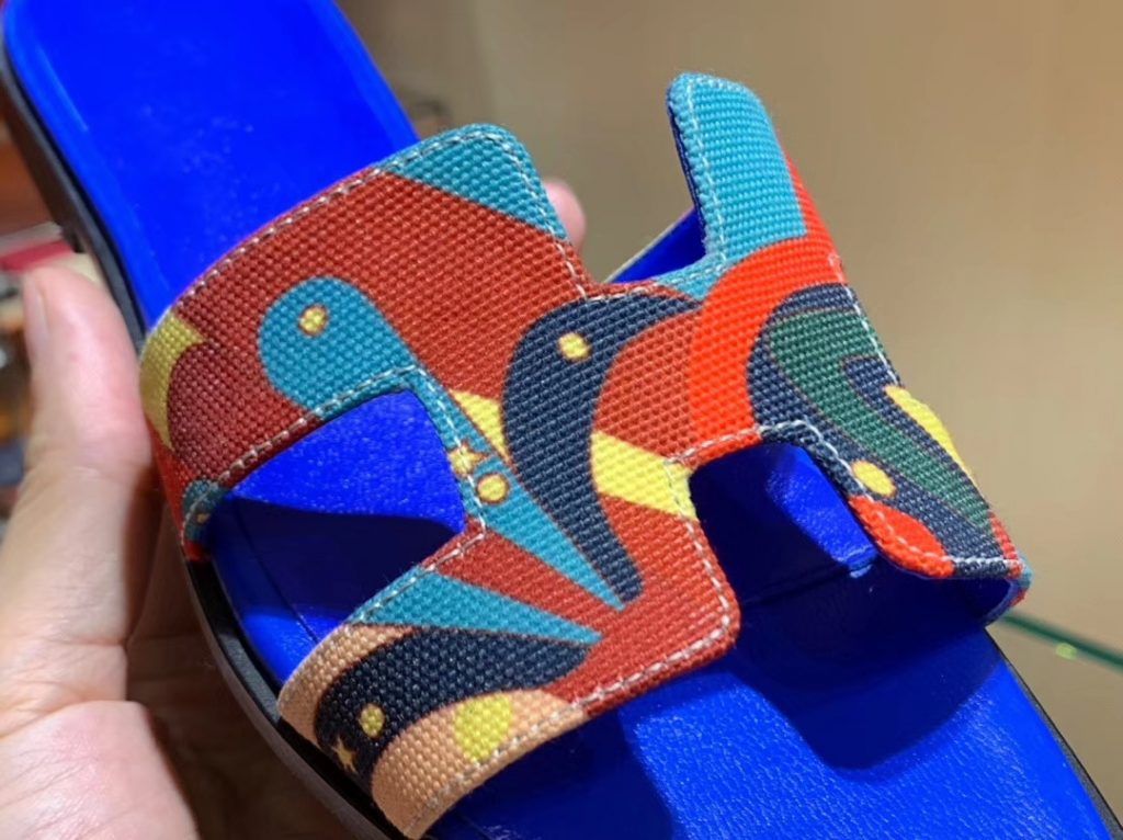 Nes Hermes Shoes H Canvas Upper Blue Electric Insole Women's Sandals Shoes Size35-41