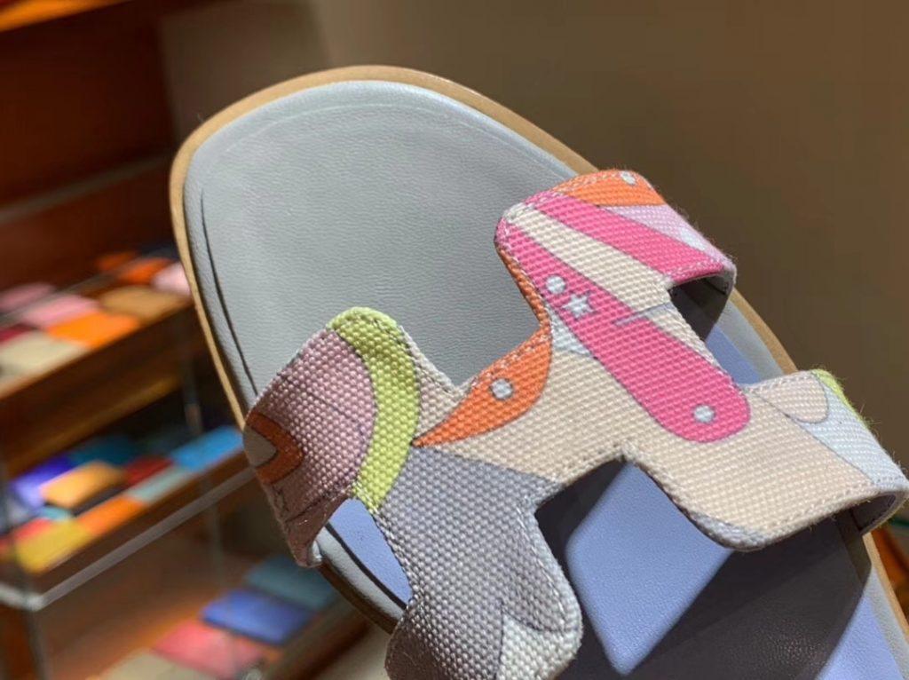 Fashion Hermes H Canvas Upper Gris Tourterelle & Light Blue Insole Sandals Slippers Size35-41