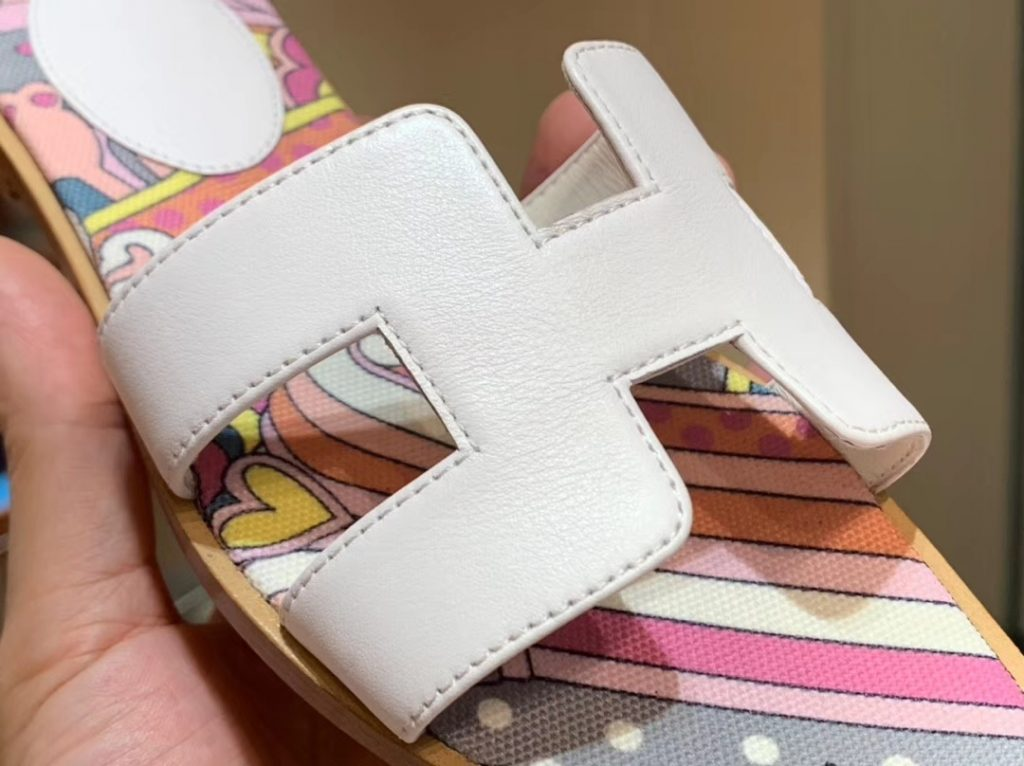 Discount Hermes New White Upper H Sandals Canvas Insole Slippers Women's Shoes Flat Heel
