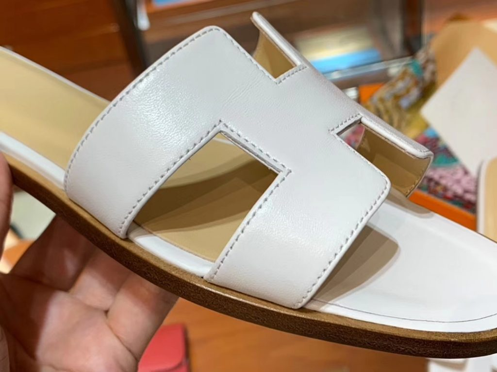 Sale Hermes White Swift Calf Upper Yellow Insole Classic H Sandals Slippers Falt Heels Size35-41