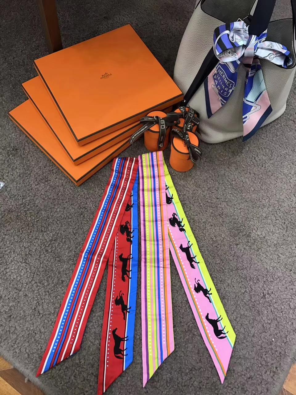 Pretty Hermes 100% Silk Twilly Ribbon Neckerchief Bandana 86*5cm