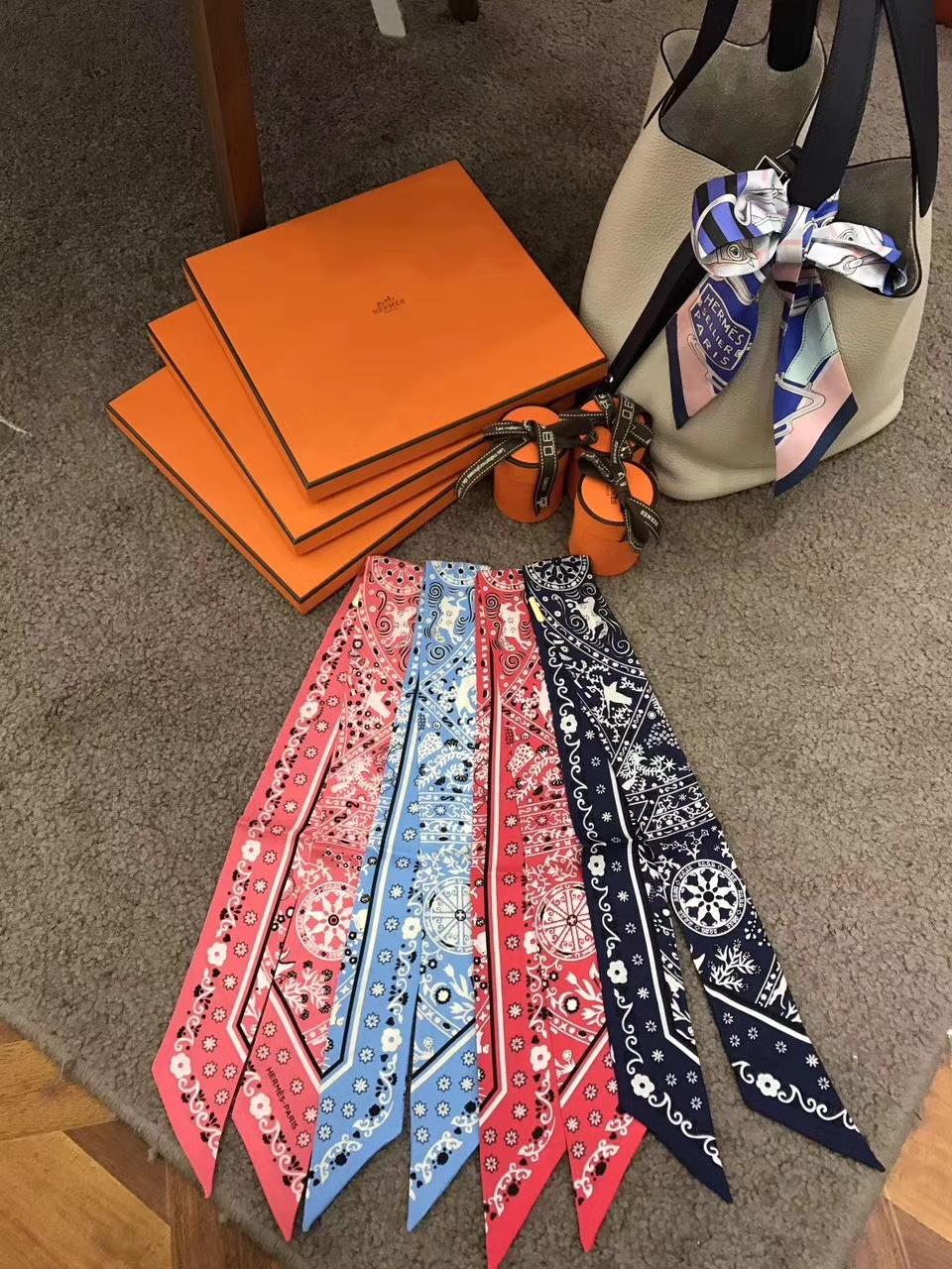 Luxury Hermes Printing Twilly Bag Ribbon Handkerchief 86*5cm