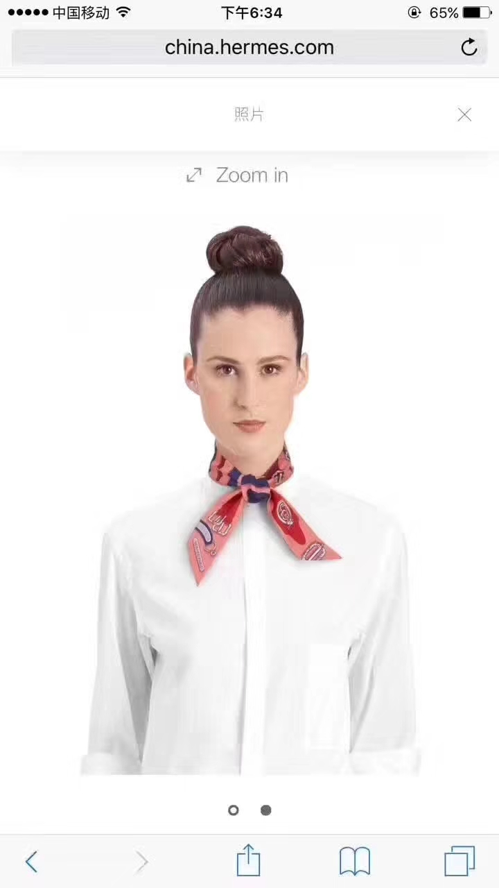 Luxury Hermes 86*5cm 100% Silk Twilly Neckerchief Bandana