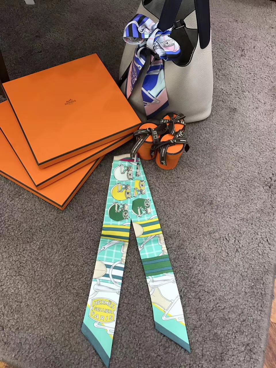 Wholesale Hermes 100% Silk Twilly Bag Ribbon Bandana Neckerchief 86*5cm