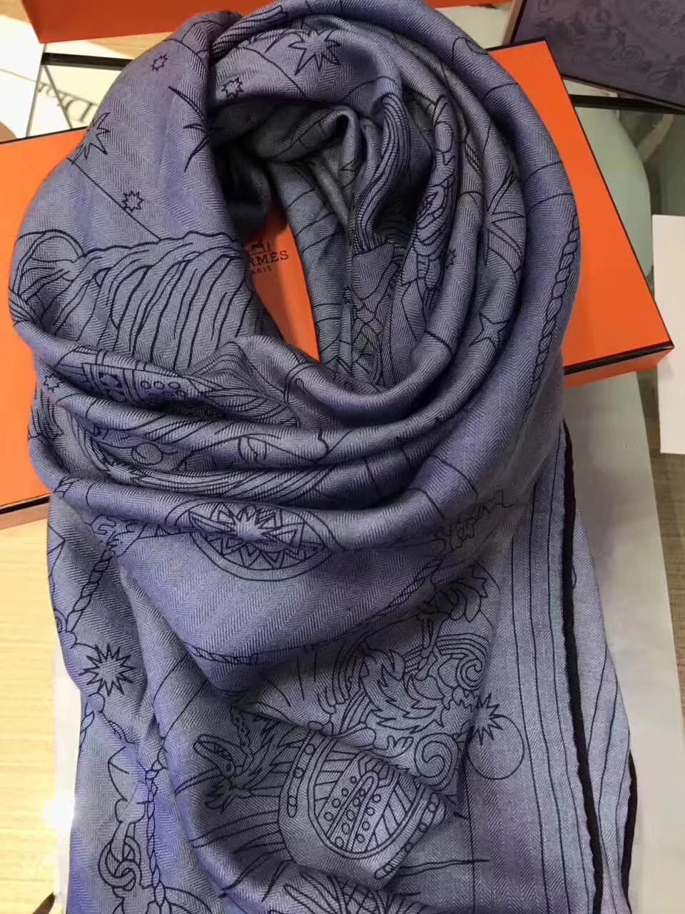 Elegant Hermes Cashmere 【H-Program】Women's Scarf in Blue 140*140cm