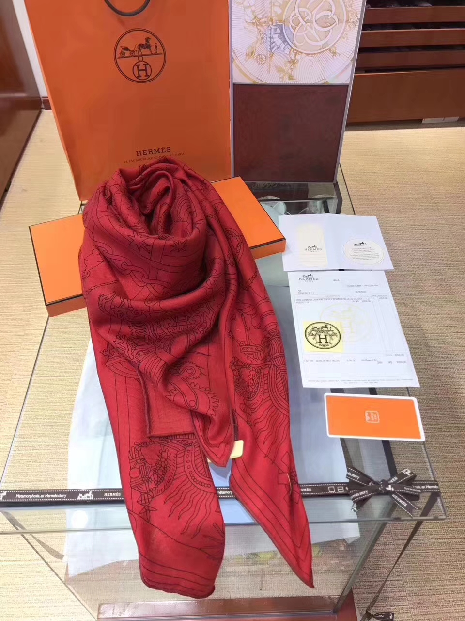 Wholesale Hermes Red Cashmere Grade-A 【H-Program】Women's Scarf Cape