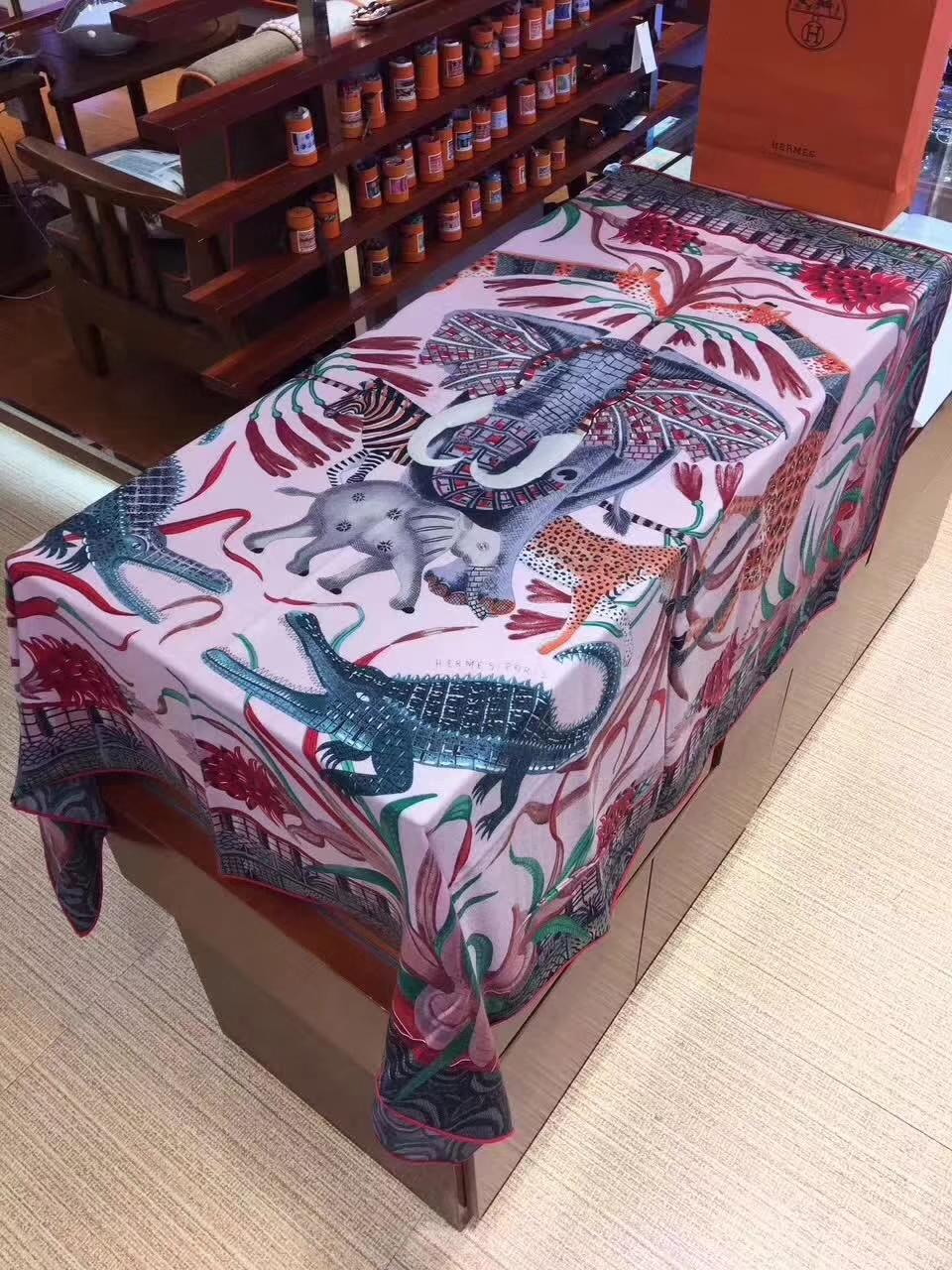 Wholesale Hermes Pink Cashmere Grade-A Women's Scarf 140*140cm