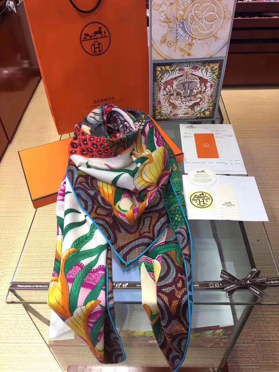 Noble Hermes Printed Cashmere Women's Scarf Cape in White140*140cm