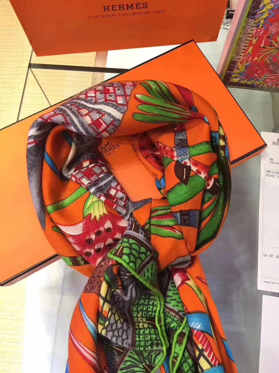 Luxury Hermes Cashmere Scarf Grade-A Women's Cape in Orange140*140cm