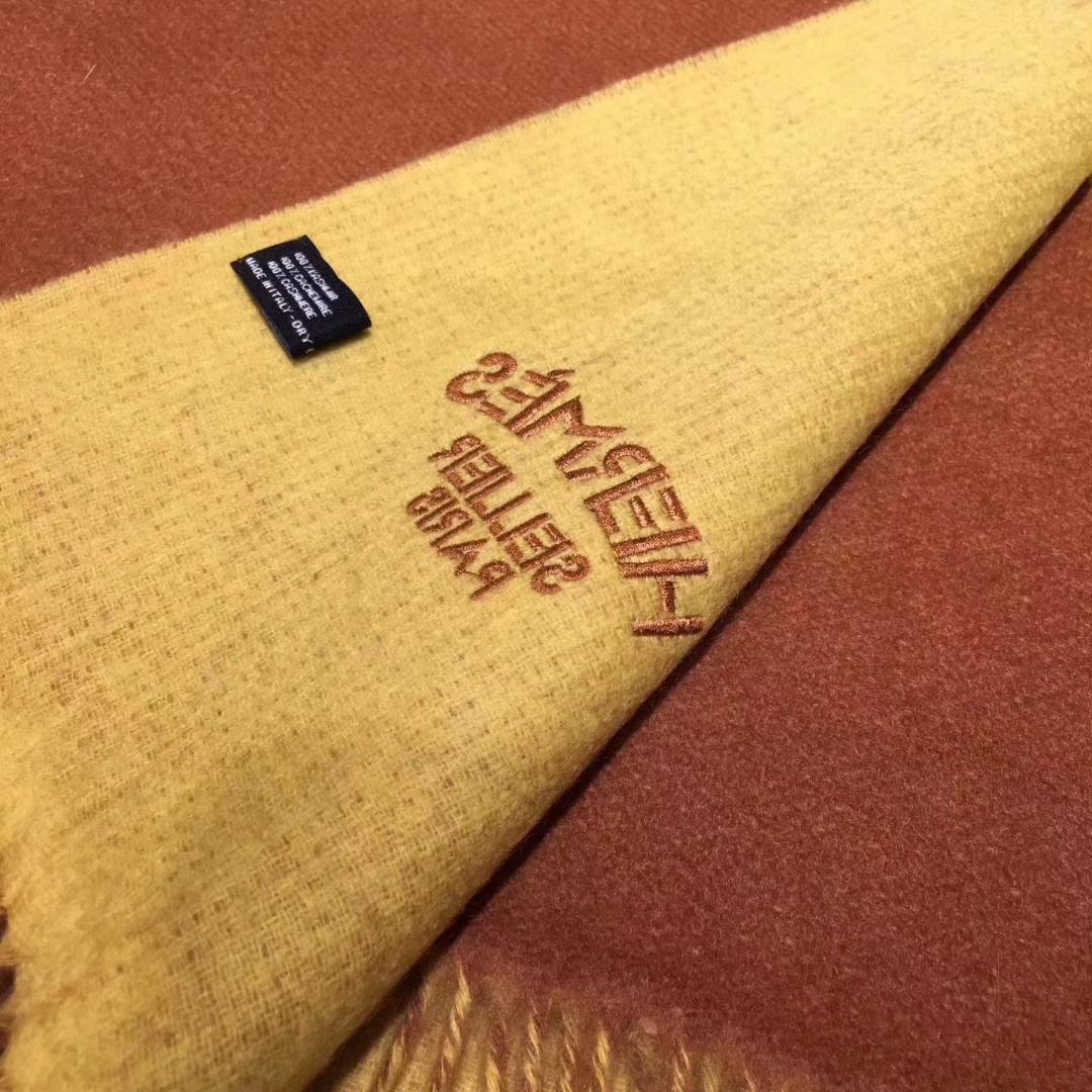 Discount Hermes Chestnut/Lemon Yellow 100% Cashmere Scarf 71*210cm