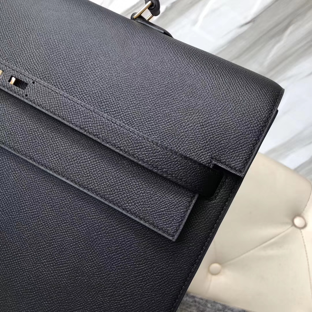 Wholesale Hermes CK89 Noir Epsom Calf Depeche Briefcase38CM Mens' Tote Bag Gold Hardware