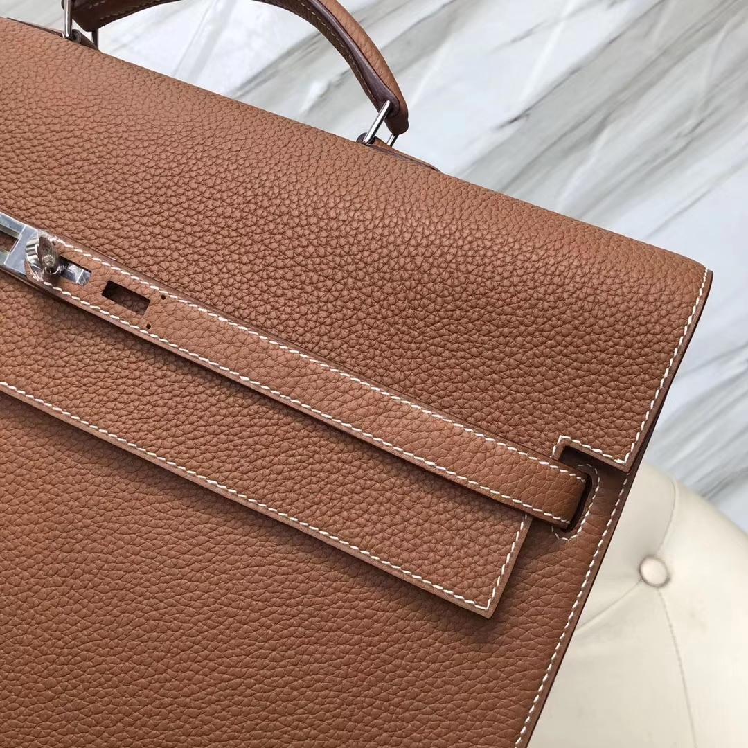 New Arrival Hermes CK37 Gold Togo Calf Depeche Briefcase Mens' Tote Bag38CM