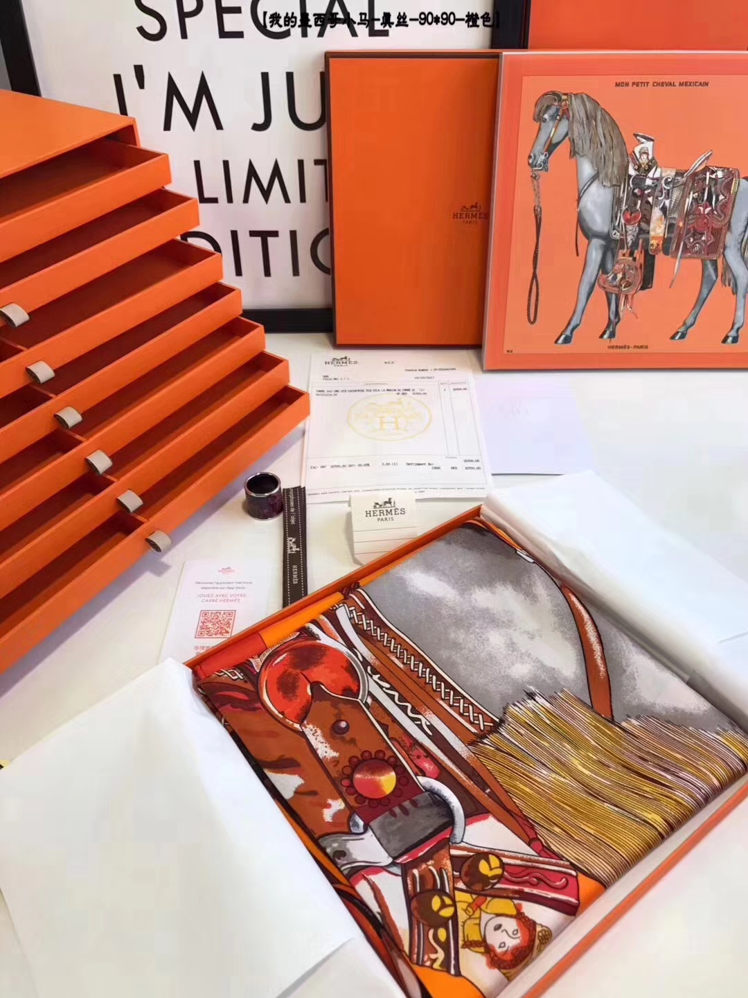 Noble Hermes Orange Silk Scarf 90*90cm with Complete Package