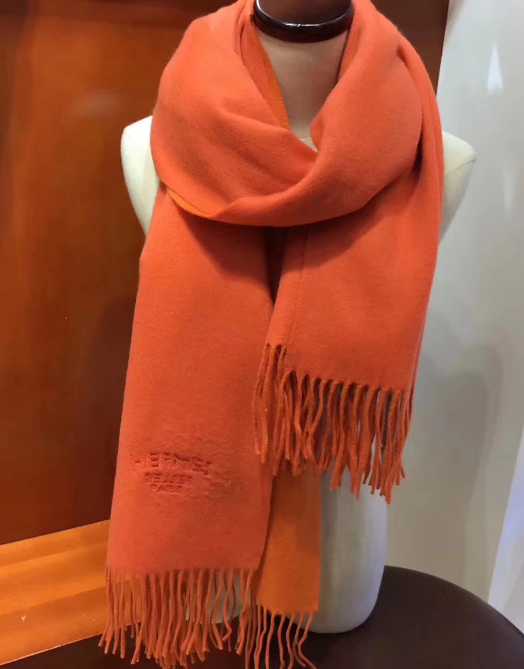 Discount Hermes 100% Cashmere Women's Scarf in Orange & Yellow