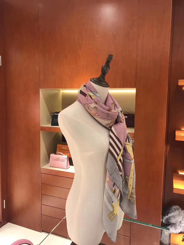 Discount Hermes Grade-A Pink Cashmere Women's Silk Scarf 140*140cm