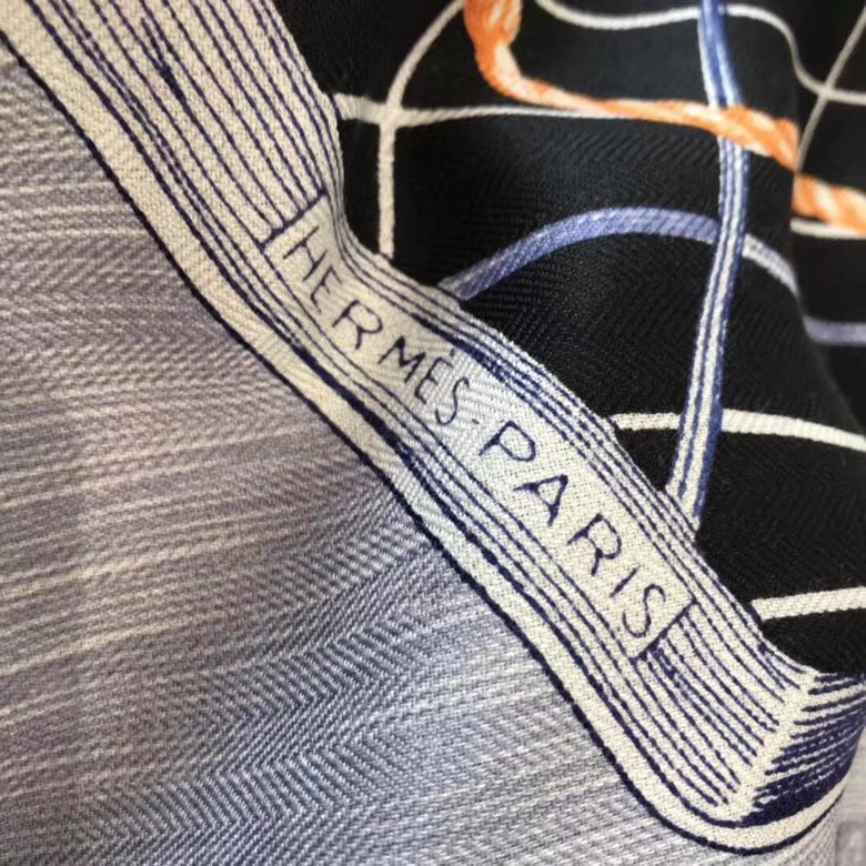 Sale Hermes Dark Blue Cashmere Silk Printed Women's Scarf140*140cm