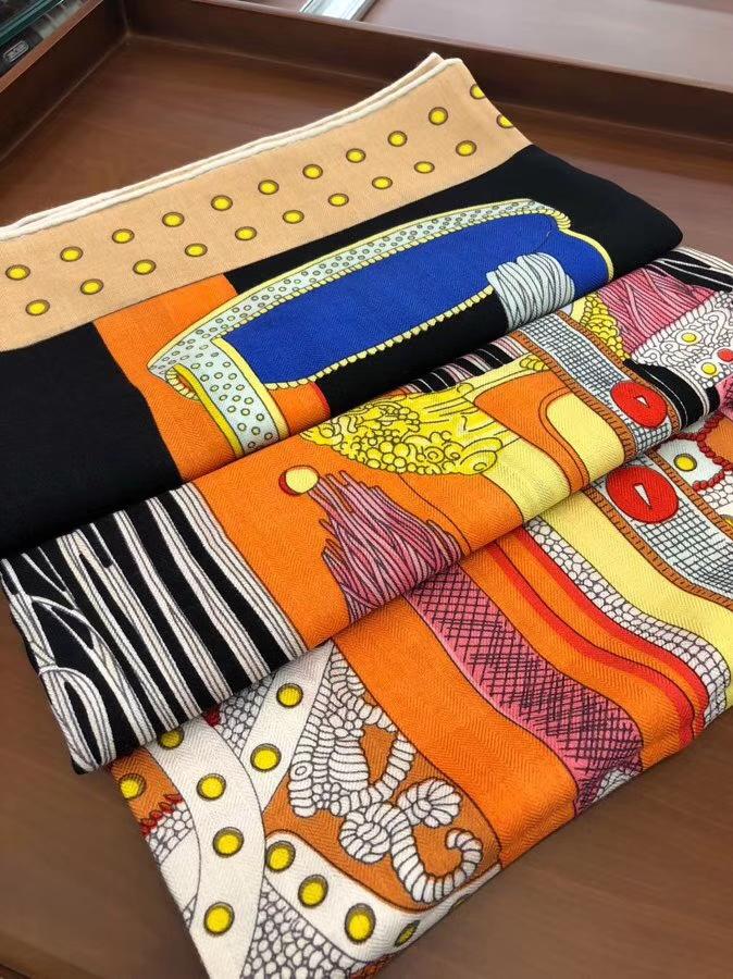 Sale Hermes Black Cashmere Silk《Noble Saddle》New Women's Scarf140*140CM