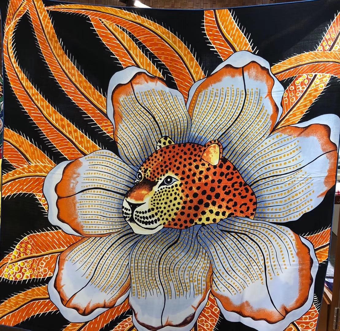 Wholesale Hermes 2018 New《Leopard & Flower》Women's Silk Scarf in Sky Blue