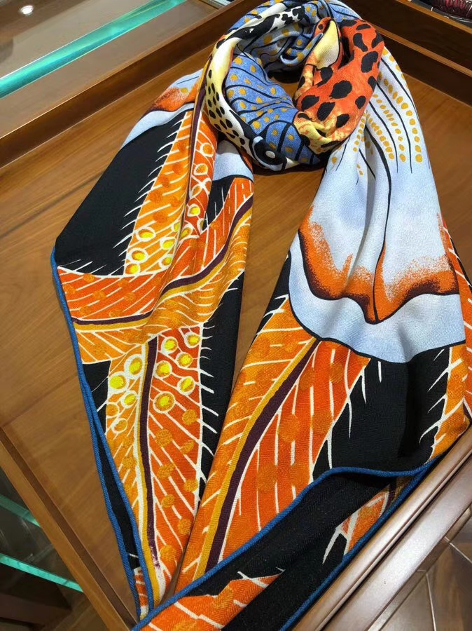 Wholesale Hermes 2018 New《Leopard & Flower》Women's Silk Scarf in Sky Blue