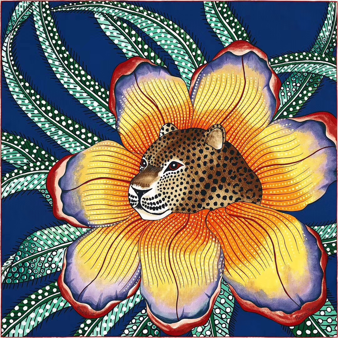 Noble Hermes《Leopard & Flower》Yellow Cashmere Silk Women's Scarf 140*140CM