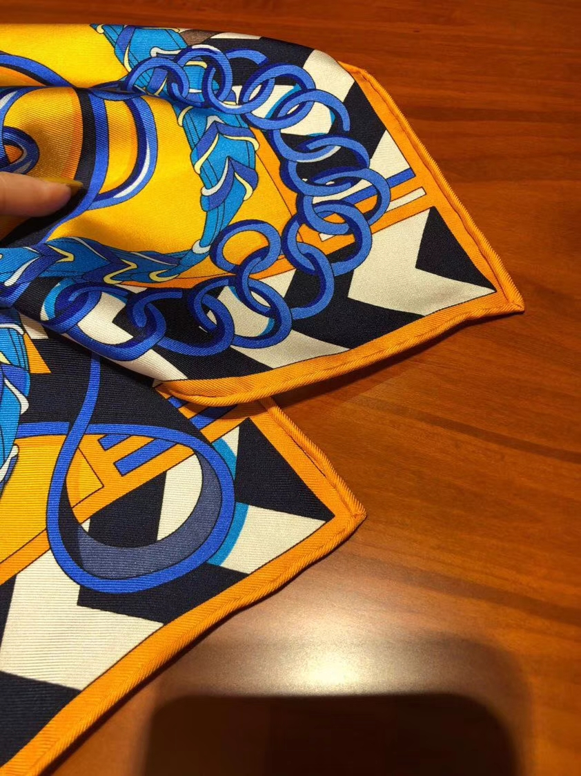 Discount Hermes Sun Yellow 100%Silk Scarf 90*90CM with Complete Package