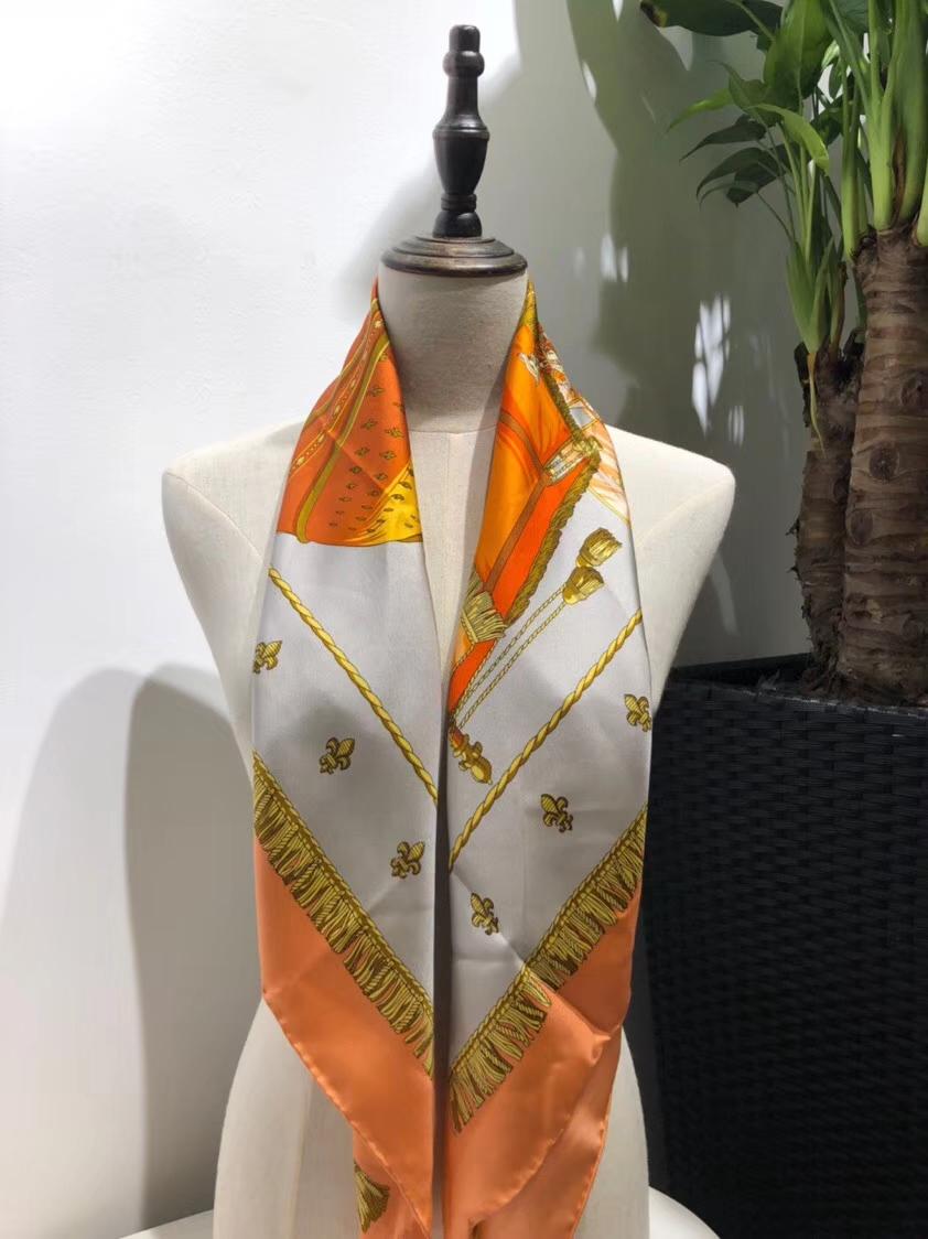 Discount Hermes Orange 100%Mulberry Silk 2018 New Women's Scarf 90*90cm