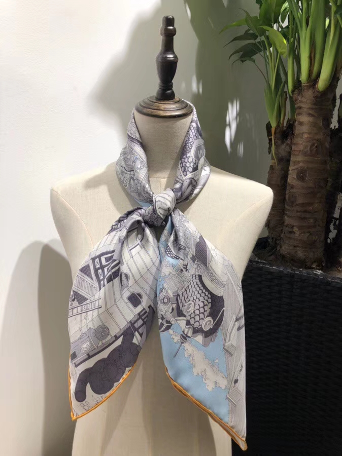 Wholesale Hermes 2018 New Light Blue Real Silk Square Scarf 90*90CM