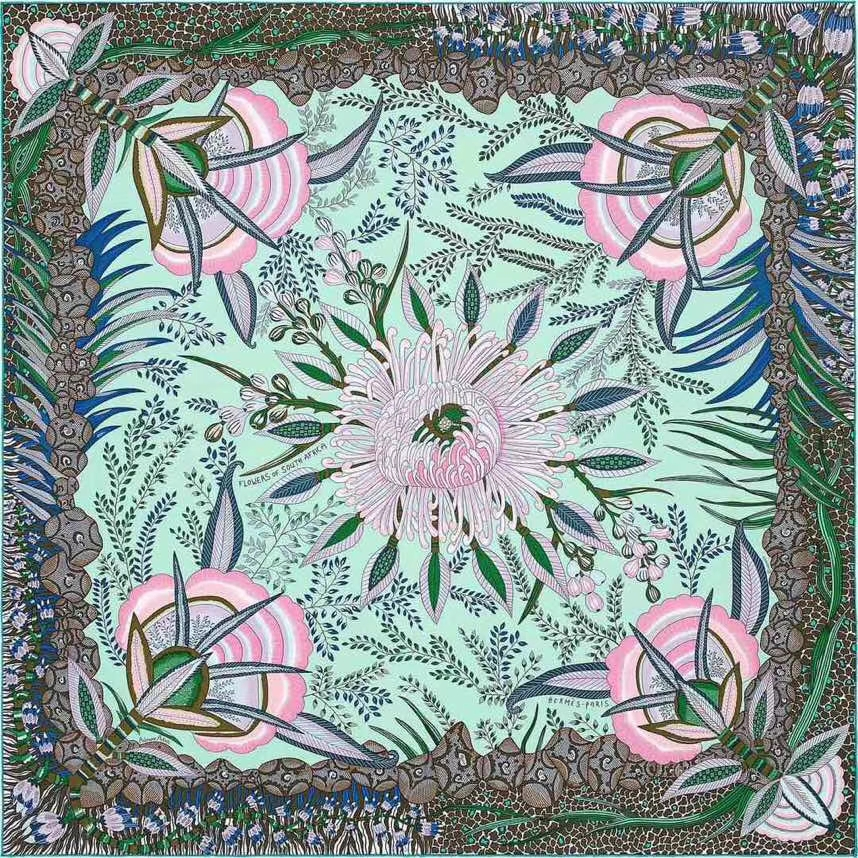 Elegant Hermes Classic Printed 100%Mulberry Silk Women's Scarf in Mint Green