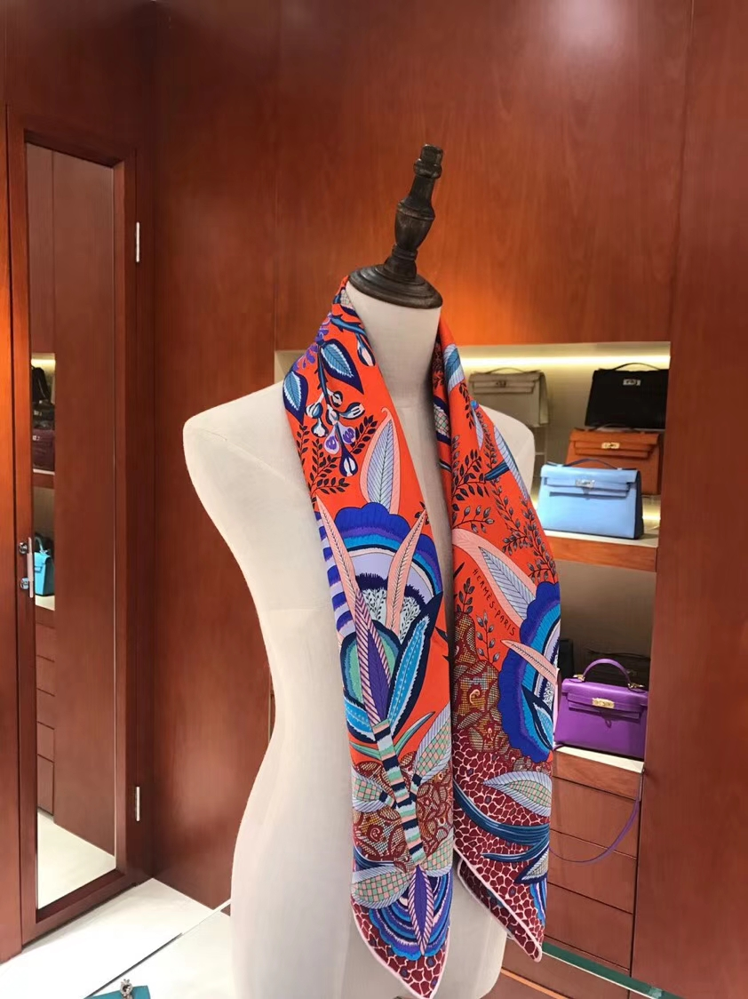 Hot Sale Hermes Orange Classic Printed 100%Mulberry Silk Square Scarf 90*90CM