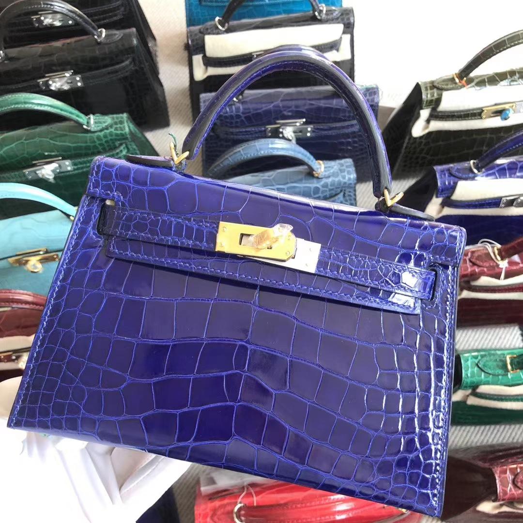 Stock Hermes 7T Blue Eletric Shiny Crocodile Minikelly-2 Clutch Bag Gold Hardware