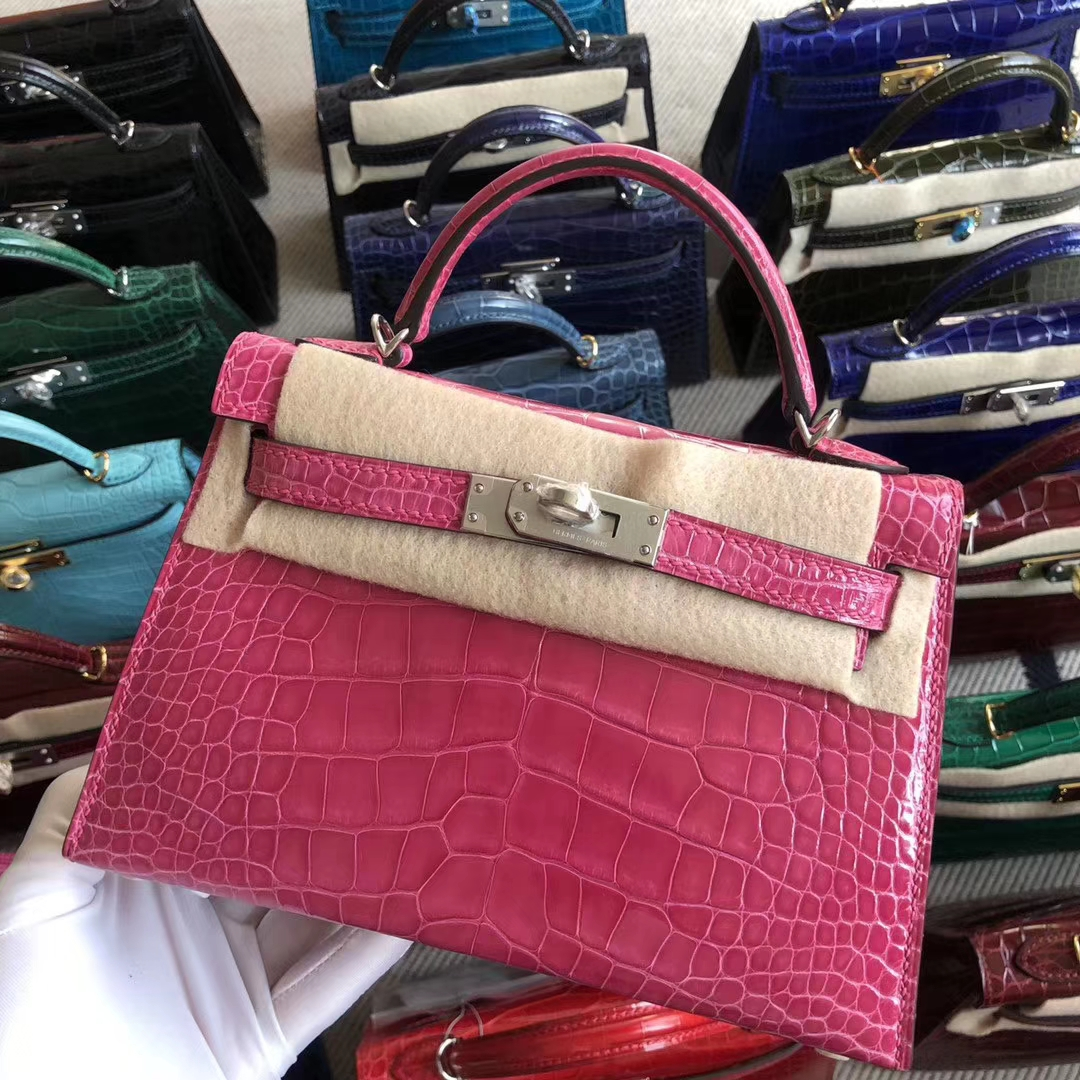 Stock Hermes Shiny Crocodile Minikelly-2 Evening Bag in 5J Rose Peach Silver Hardware