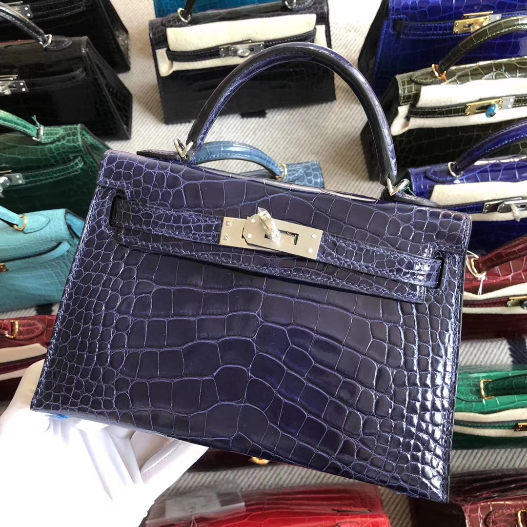 Stock Discount Hermes M3 Blue Encre Shiny Crocodile Minikelly-2 Bag Silver Hardware