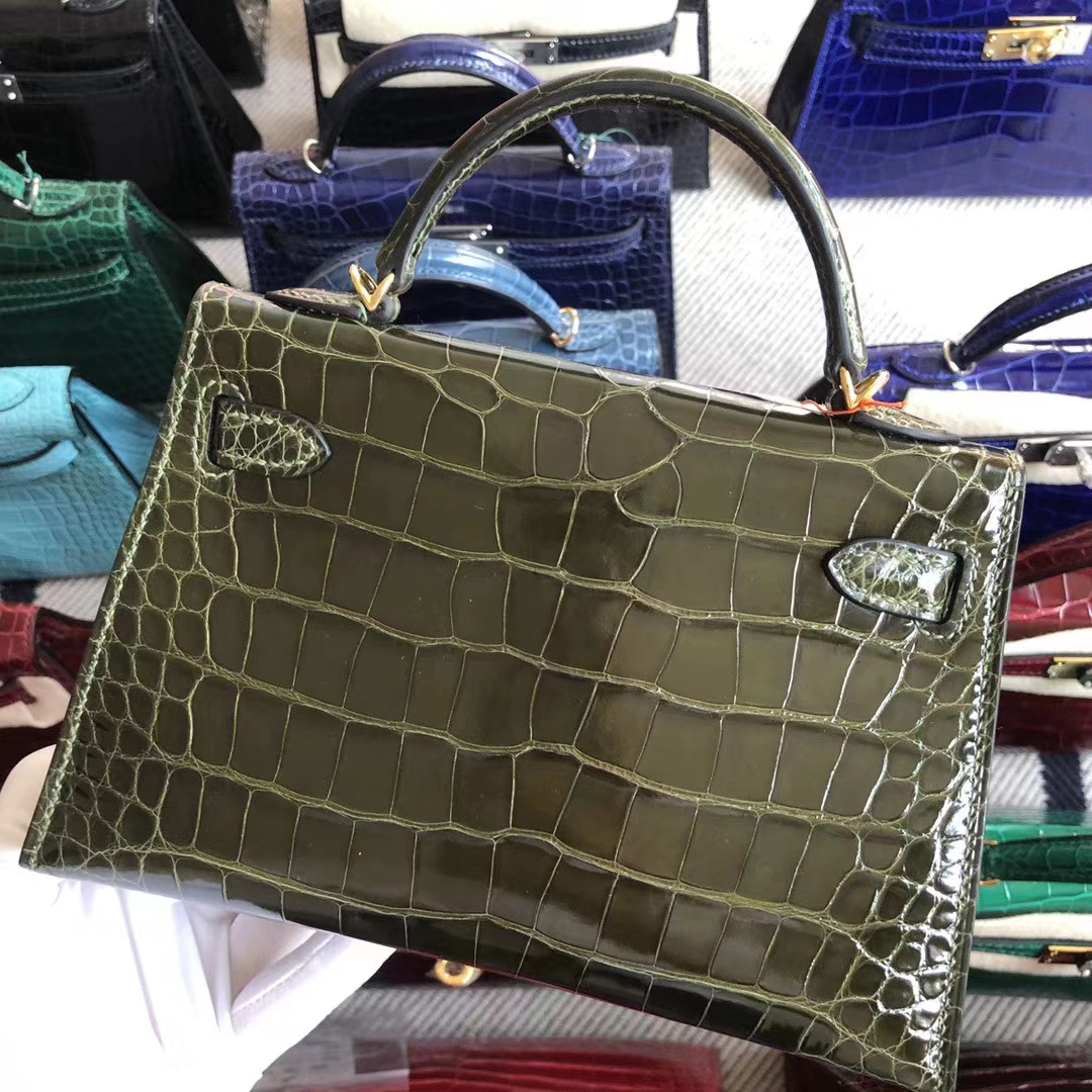 Stock Hermes 6H Olive Green Shiny Crocodile Minikelly-2 Evening Clutch Gold Hardware