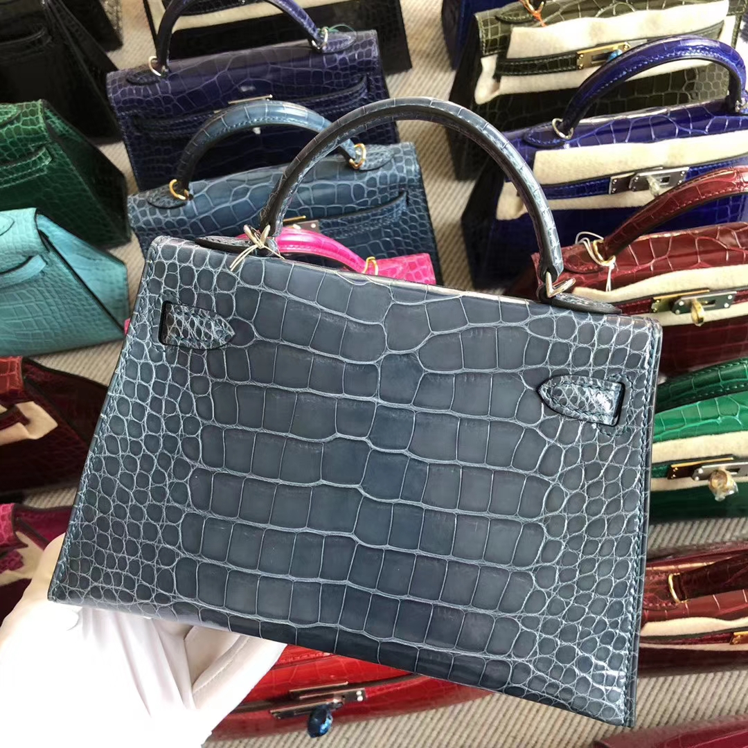 Stock Hermes Shiny Crocodile Minikelly-2 Evening Bag in 7N Blue Tempete Silver Hardware