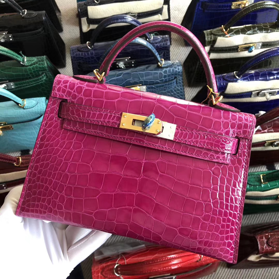 Stock Hermes J5 Rose Scheherazade Shiny Crocodile Minikelly-2 Bag Gold Hardware