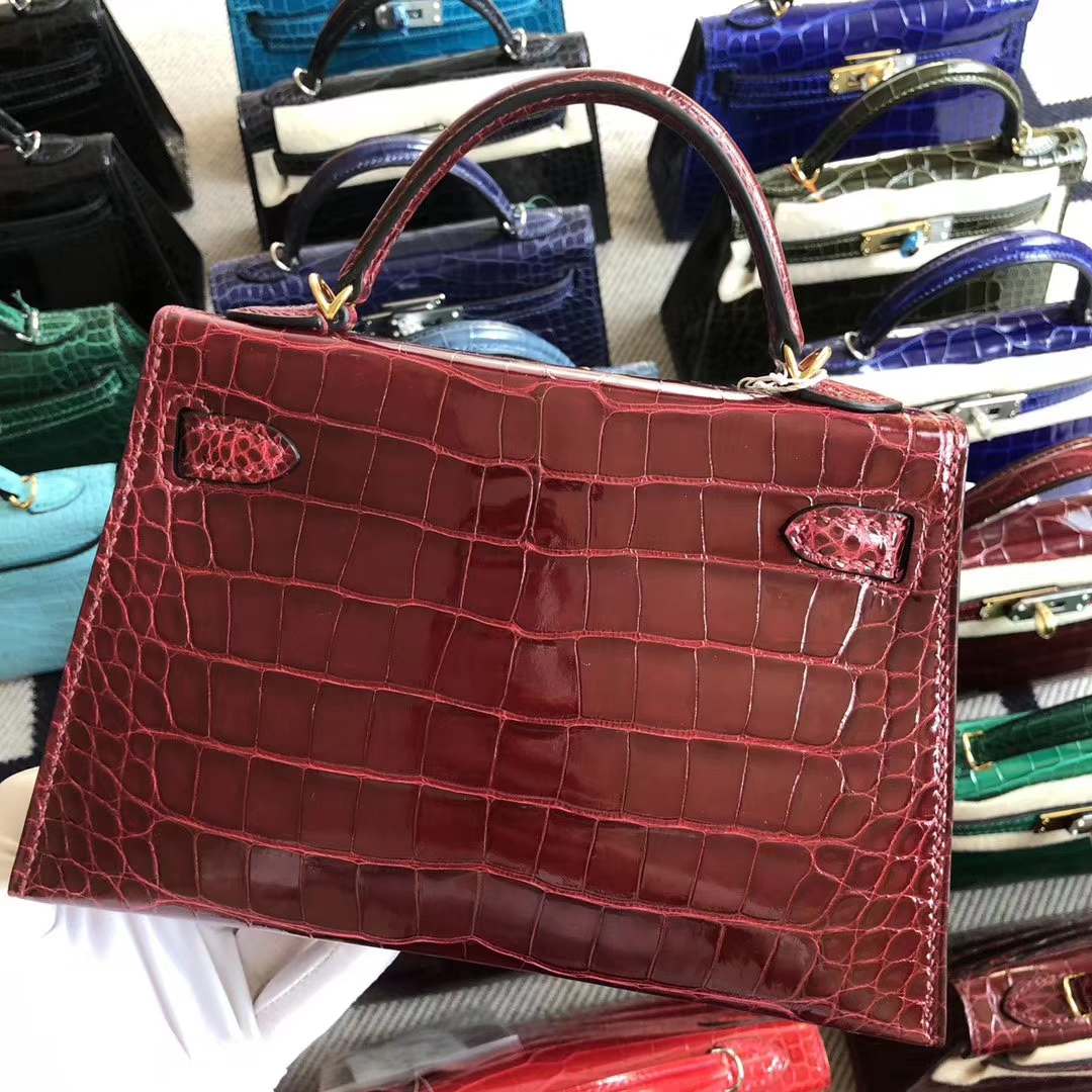Stock Hermes Shiny Crocodile F5 Rouge Bourgogne Minikelly19cm Clutch Bag Gold Hardware