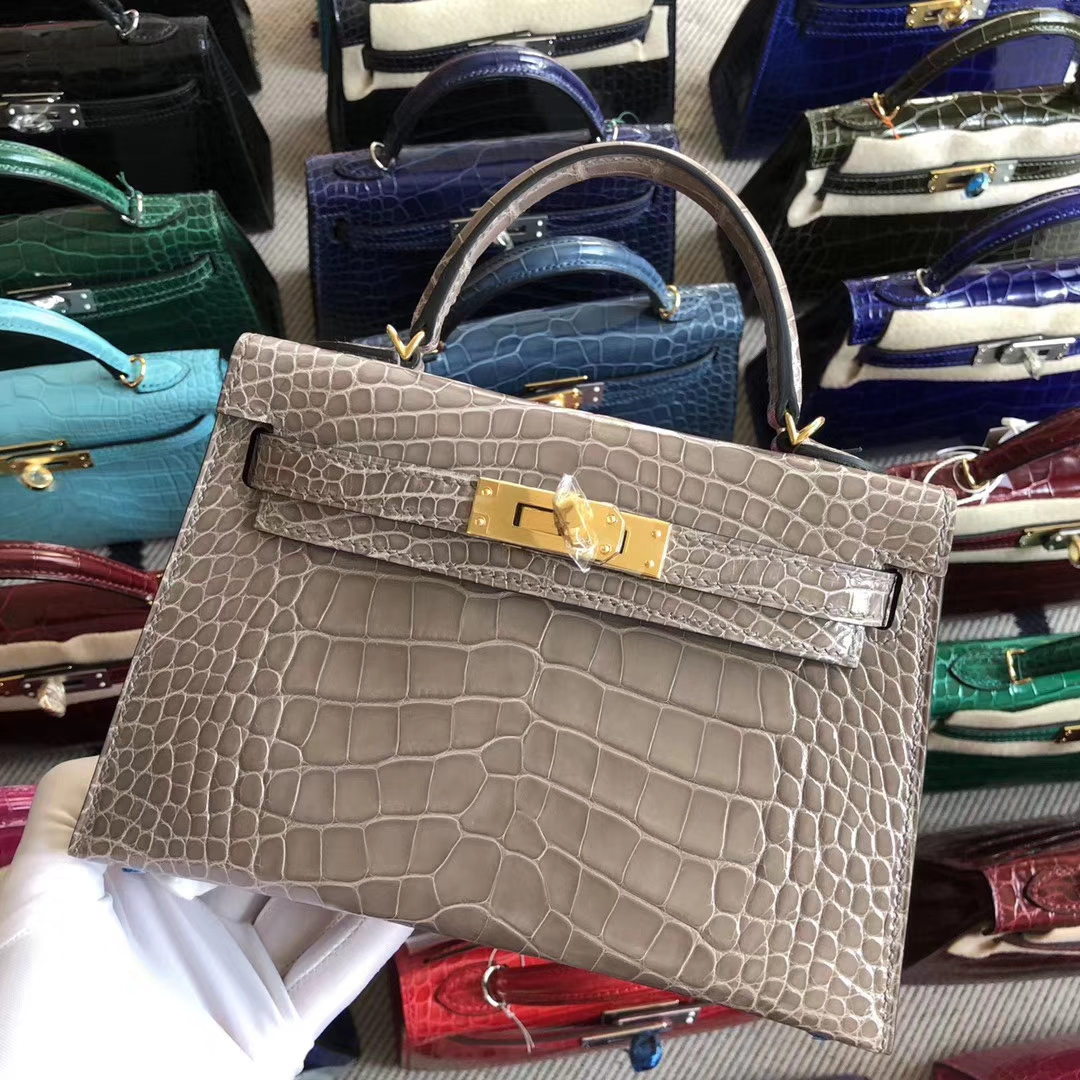 Stock Lovely Hermes CK81 Gris T Alligator Crocodile Minikelly19cm Gold Hardware
