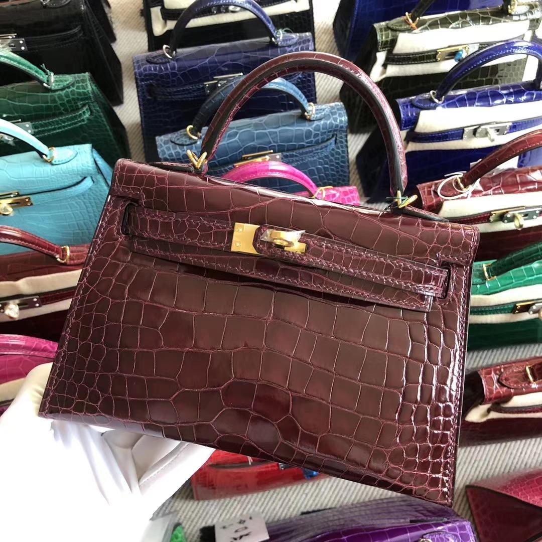Stock Hermes CK57 Bordeaux Red Alligator Crocodile Minikelly-2 Evening Bag Gold Hardware