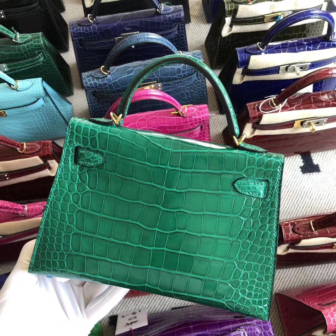 Stock Hermes 6Q Vert Emerald Shiny Crocodile Minikelly-2 Bag Gold Hardware