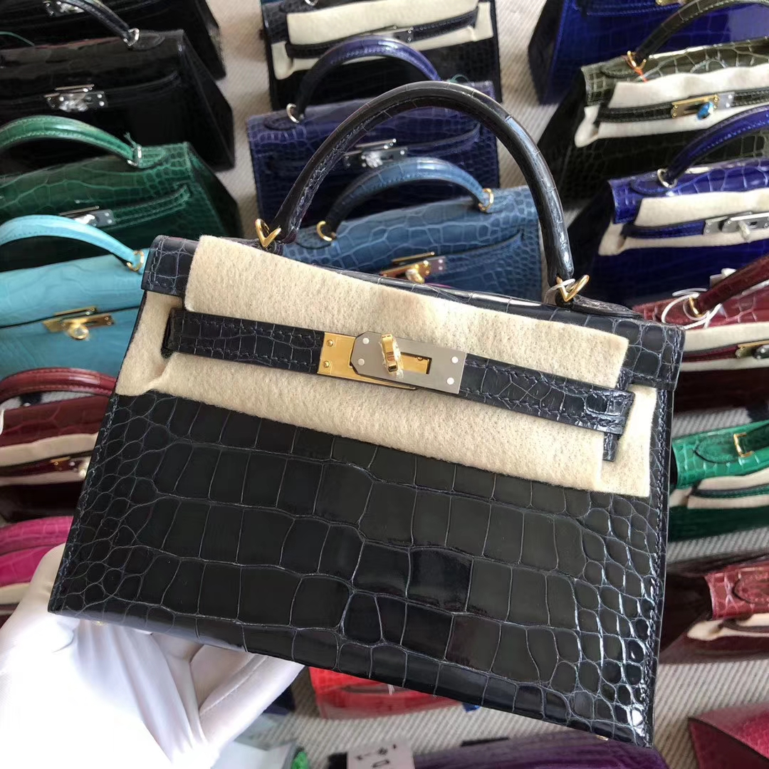 Stock Hermes Alligator Crocodile Blue Indgo Minikelly-2 Clutch Bag Gold Hardware