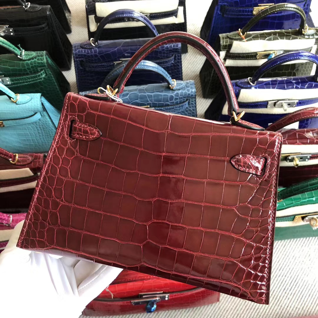 Stock Hermes F5 Rouge Bourgogne Alligator Crocodile Minikelly19CM Gold Hardware
