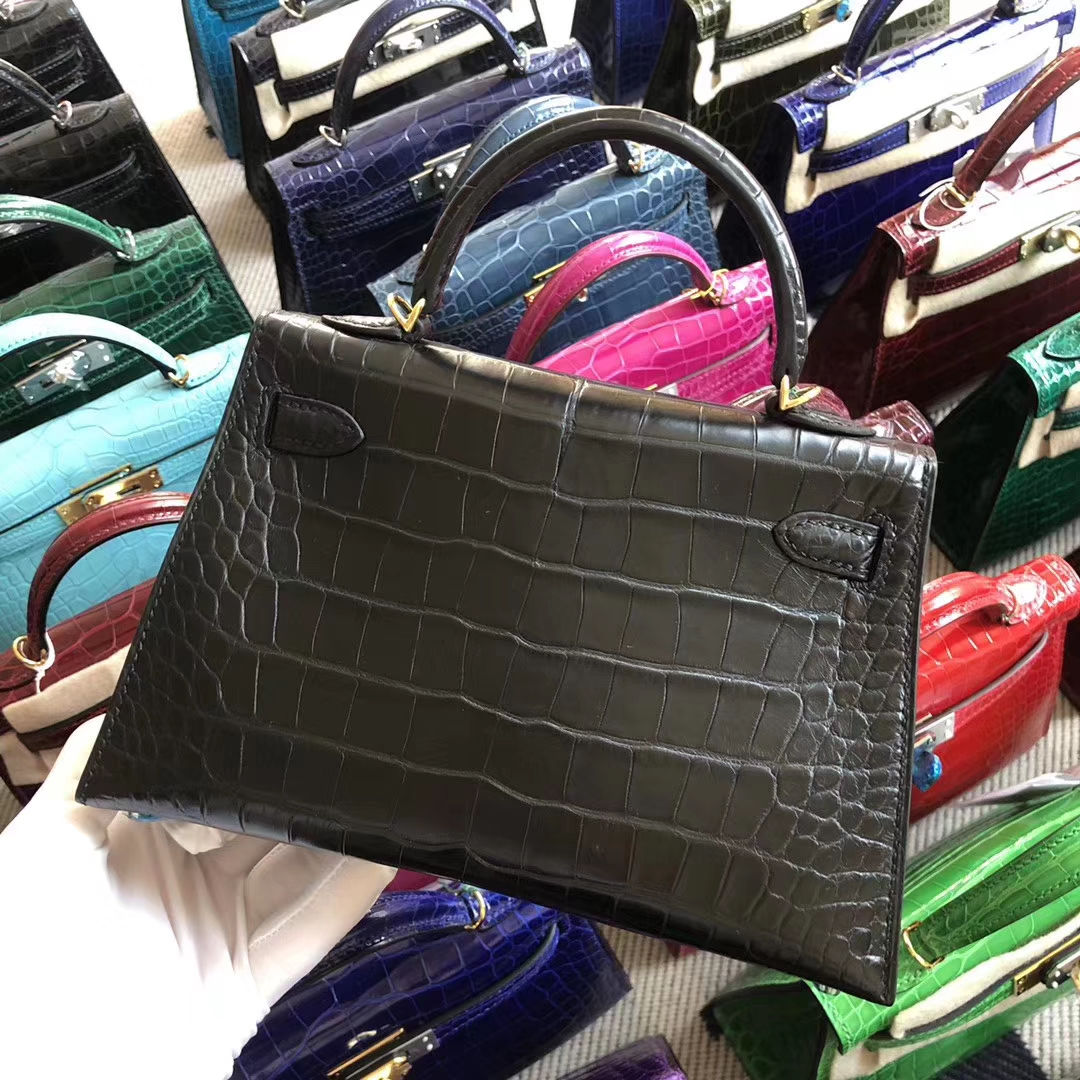 Stock Hermes Matt Crocodile CK89 Black Minikelly-2 Bag Gold Hardware
